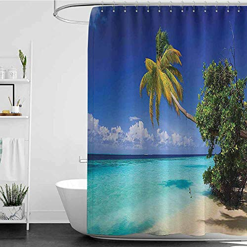 Jouiysce Shower Curtains for Bathroom Black and Gold Tropic,Sandy Beach Seashore with Palms and Ocean Island Hawaiian Sunny Image,Blue Green Turquoise W72 x L96,Shower Curtain for Shower stall