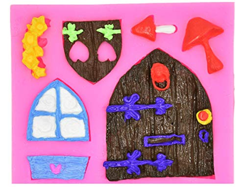 Gnome mold House Cartoon Door fondant mold Fairy wizard Silicone Cupcake Baking Molds forest party Fondant molds wood door window Cake Decorating Tools Gumpaste mushroom Chocolate Candy Clay Mould