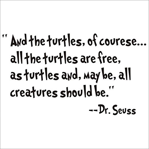 NYKKOLA Dr Seuss All The Turtles are Free Wall Art Vinyl Decals Stickers Quotes and Sayings Home Art Decor Decal Love Kids Bedroom Children Nursery School (Dr. Turtle)