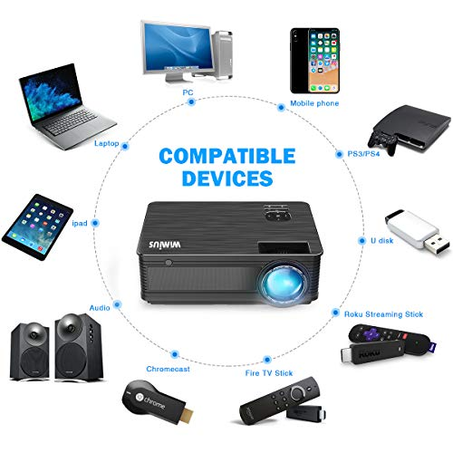 Projector, WiMiUS P18 4000 Lumens LED Projector Support 1080P 200'' Display 50,000H LED Compatible with Amazon Fire TV Stick Laptop iPhone Android Phone Xbox Via HDMI USB VGA AV Black by WiMiUS (Image #8)