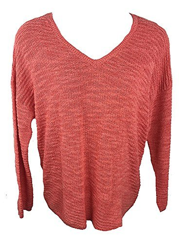 Calvin Klein Jeans Ladies' Textured Sweater (Fire Coral, Small) ()