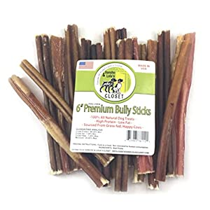 6-Inch THIN Bully Sticks Dogs Made in USA 7oz (12-14) Boutique Grain-Free Beef Pizzle Dog Chew Sticks by Sancho & Lola's
