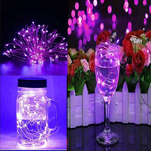 DZT1968  6Pcs 3m30LED Fairy Light Battery Starry String Copper Wire Decor Christmas 360 Degree Sparkle for Party Wedding Holiday Kids Best Gift (Purple)