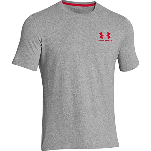 Under Armour Mens Charged Cotton Left Chest Lockup T-Shirt, True Gray Heather /Red, Medium