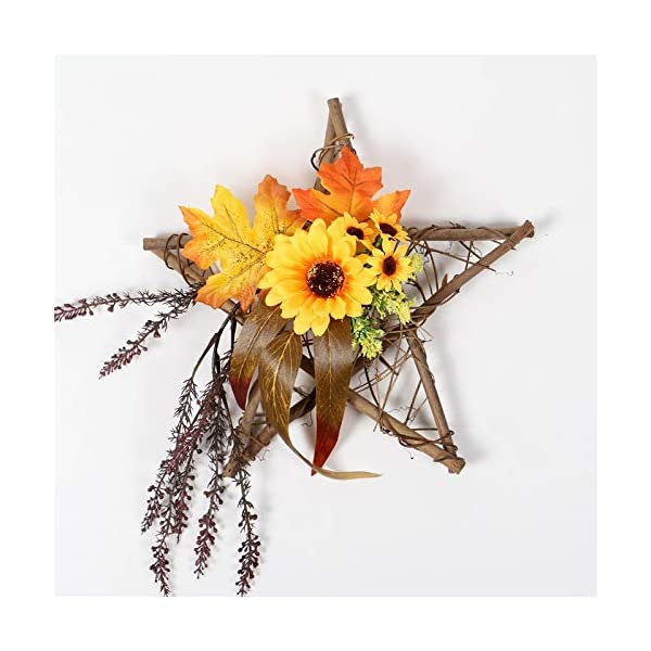 FLCSIed Artificial Flower Fall Wreath Wooden Star Square for Flower Arrangement with LED Lights Wreath Macrame Wall Haning Wedding Door Thanksgiving Decor (Wreath Sunflowers + Maple Leaves) (Star)
