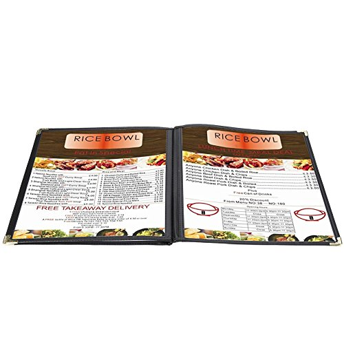 Flexzion Menu Cover 8.5x11 inch Black Triple Fold Book Style Holder with 3 Page 6 View Protective Corner For Restaurant Hotel Deli Cafes Bars Pubs