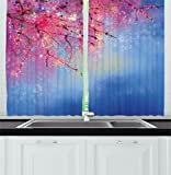 Ambesonne Watercolor Flower Home Decor Kitchen Curtains, Sakura Branches Hangs down Dramatic Night Oriental Plant Image, Window Drapes 2 Panels Set for Kitchen Cafe, 55 W X 39 L Inches, Pink Blue