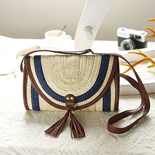 Female Straw Blue Bag Tassel Amuele Beach Handbag Lady Bag Casual Shoulder Women Knitted tqxBxXwO