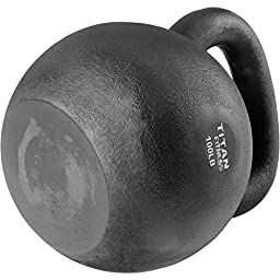 Cast Iron Kettlebell Weight 100 lb Natural Solid Titan Fitness Workout Swing