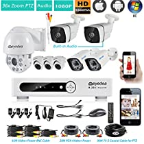 Eyedea H 1080P 8 CH Remote Control DVR 18x Zoom Outdoor PTZ Pan Tilt Zoom Speed Dome Audio Waterproof Night Vision Video Surveillance CCTV Security Camera System 1TB Hard drive