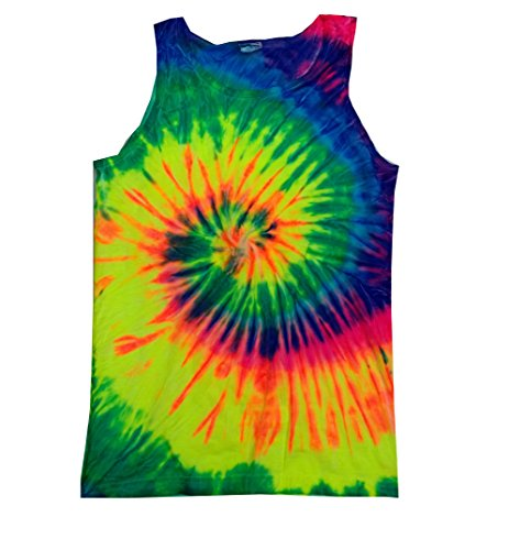 Colortone Unisex Tie Dye Tank Top, Neon Rainbow, Small ()