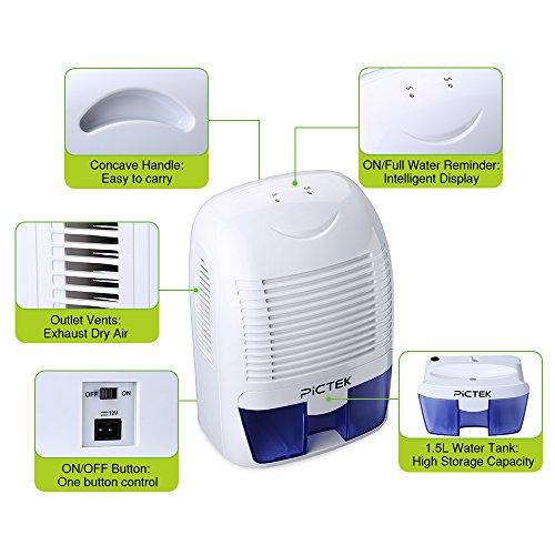Pictek Portable Dehumidifier Ultra Quiet Electric Dehumidifier Dehumidifiers For
