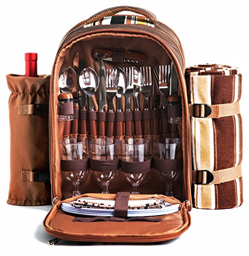 Picnic Backpack Bag for 4 Person With Cooler Compartment, Detachable Bottle/Wine Holder, Fleece Blanket, Plates and Cutlery Set Perfect for Outdoor, Sports, Hiking, Camping, BBQs(Coffee) (Wine Bottle Basket)