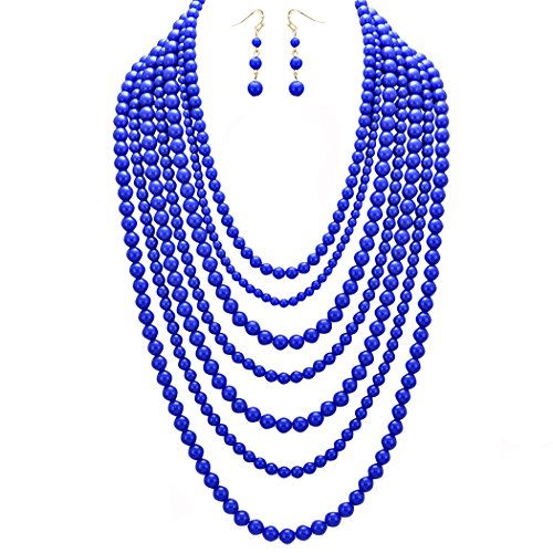 Rosemarie Collections Women's Fashion Jewelry Set Beaded Multi Strand Bib Necklace (Cobalt Blue) (Strand Multi Necklace Blue)