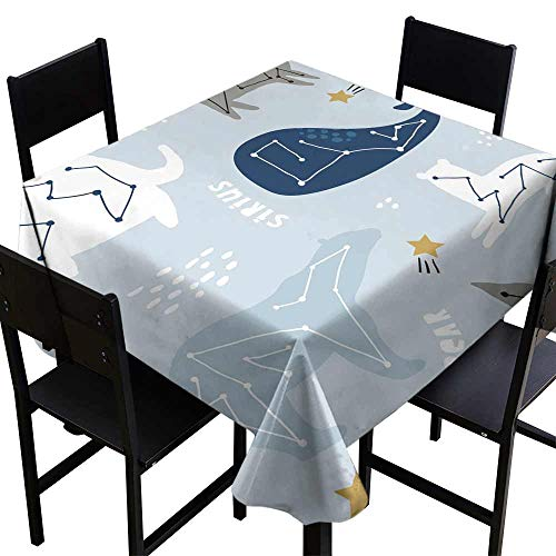 Washable Table Cloth Seamless childish pattern with constallations on night starry sky Creative kids texture for fabric wrapping textile wallpaper apparel Vector illustration Great for Buffet Table W