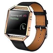 Watch Band, Winhurn Luxury PU Leather Strap+Metal Frame For Fitbit Blaze Smart Watch (Black)