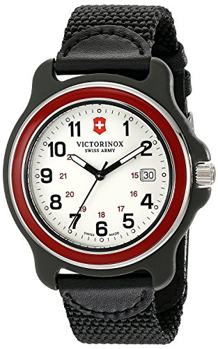 Victorinox Men's 249089 Original Analog Display Swiss Quartz Black Watch (White Dial/Red Bezel)
