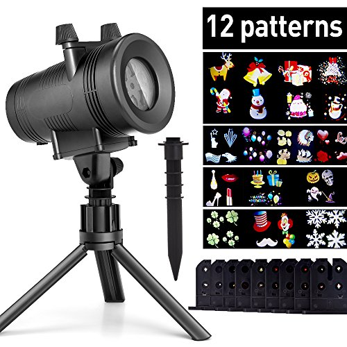 ominilight Holiday Decoration LED Projector 12 Switchable Patterns, Outdoor Landscape Disco Rotating Spotlight, Waterproof Party Light for Birthdays/Dancing/Wedding/Christmas, 6101