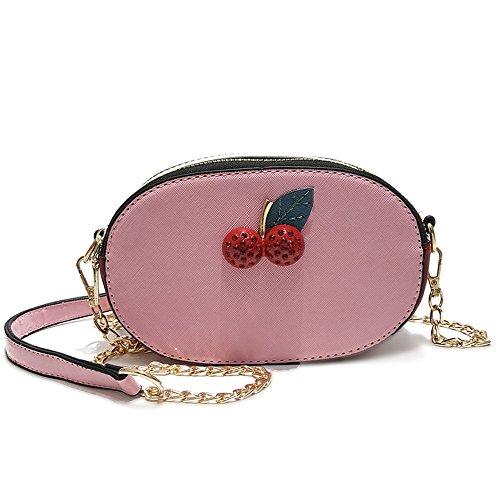 Meaeo Moda Mujer Bolso De Cuero Pu De Alta Calidad Mujer Pequeña Bolsa Bandolera Bandolera Correa Única Cadena Niñas Crossbody Bags, Negro Pink