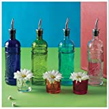 Chic Kitchen Olive Oil, Liquid Dish or Hand Soap Glass Bottle Dispenser ~ G180MS Clear ~Metal Pour Spout and Cork Included with Glass Bottle