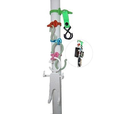 CRH600 New Idea Beach Umbrella Pole Hanging Hook Set, Patio Sunshade Flexible and Adjustable For Most Poles, 4-Hooks, Anti Slip for Towels, Camera, Sunglasses (Solution B) : Garden & Outdoor