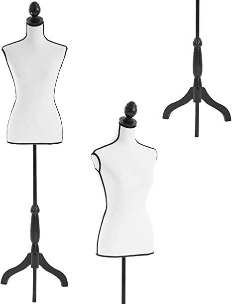 Black Female/Mannequin Torso/Body Styrofoam Dress Form with Adjustable Tripod/Stand for Clothing Dress Jewelry/Display Black