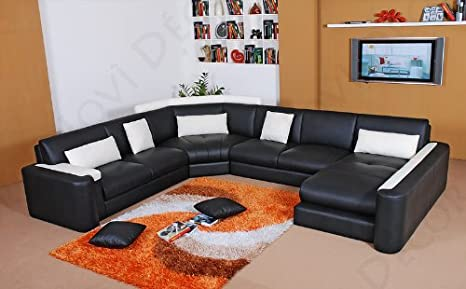 Amazon.com: Miami Leather Sectional Sofa in Custom Colors by ...