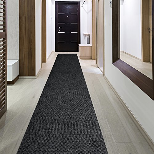 iCustomRug Indoor/Outdoor Utility Berber Loop Carpet Runner And Area Rugs In Black, Many Sizes Available