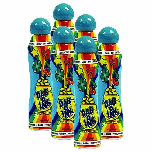 Six Pack 3oz dab-o-ink Aqua Bingo Dauber