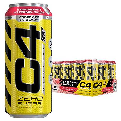 Cellucor C4 Original Carbonated Zero Sugar Energy Drink, Pre Workout Drink + Beta Alanine, Sparkling Strawberry Watermelon Ice, 16 Fl. Oz (Pack of 12)