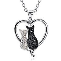 Angel caller 925 Sterling Silver Two-tone Cubic Zircon Double Cat Pendant Necklace