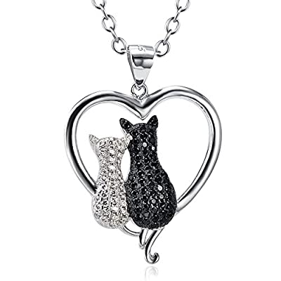 "Angel caller Cat Necklace 925 Sterling Silver Enter Love Heart Two-tone Double Cat Pendant Necklace for Women 18"",20"" from GNX8858@SKU"