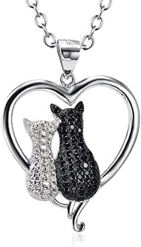 Angel caller Cat Necklace 925 Sterling Silver Enter Love Heart Two-tone Double Cat Pendant Necklace for Women 18