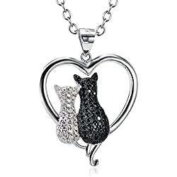 Two-tone 925 Sterling Silver Black and White Crystal Couple Cat Love Pendant Necklace, 18""