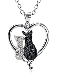 Two-Tone 925 Sterling Silver Lovely Couple Cat Pendant Animal Charms Necklace, Rolo Chain