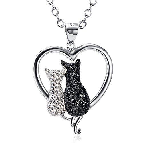 Two-tone 925 Sterling Silver Black and White Crystal Couple Cat Love Pendant Necklace, 18