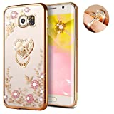 Note 8 Secret Garden Case-Auroralove Soft Slim Bling Butterfly Flower Bumper Cover for Samsung Note 8 with Rhinestone Diamond Detachable 360 Ring Stand(Gold+Pink)