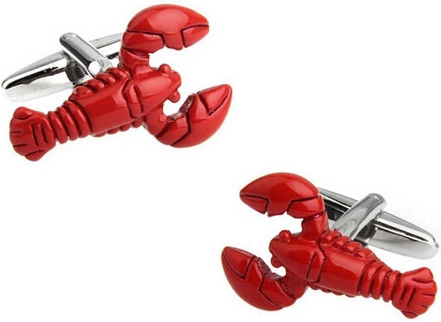 Ogquaton 1 paire de boutons de manchette pour hommes sertie argent rouge de homard chemise bouton clip boutons de manchette affaires hommes bijoux cadeau cadeau pr/ésent et portable