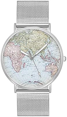 ... de pulsera mujer hombre reloj de cuarzo color plata + Varios Colores Pulsera Diseño Mapa del Mundo Globo Terráqueo País tarjeta tarjeta mundo pulsera de ...