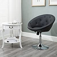 Windaze Round Tufted Swivel Chair, Luxury Leather Contemporary Back Adjustable Tilt Lounge Accent Chair, Black