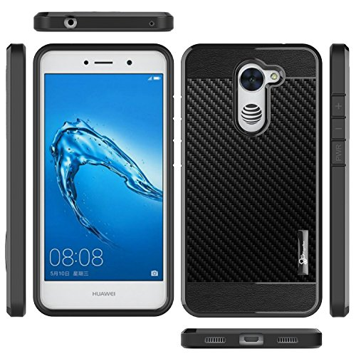 NageBee For Huawei Ascend XT 2 Case with [Full Cover Tempered Glass Screen Protector] [Frost Clear] [Carbon Fiber] Slim Soft Cover Case For Huawei Ascend XT2 H1711/Huawei Elate 4G LTE -Black