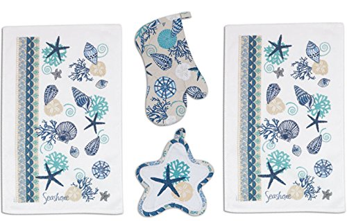 4-Piece-Blue-Shells-Kitchen-Set-2-Terry-Towels-Oven-Mitt-Potholder