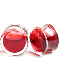 RichBest 2PCS Red Liquid Blood Acrylic Double Flared Saddle Ear Gauges Ear Plug Earrings