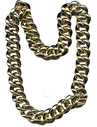 [npchn (Gold) Pimp Necklace Rapper Bling] (Mr T Costumes)