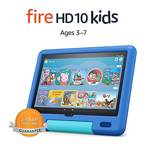All-new Fire HD 10 Kids tablet   for ages 3–7   10.1″, 1080p Full HD, 32 GB   Sky Blue Kid-Proof Case