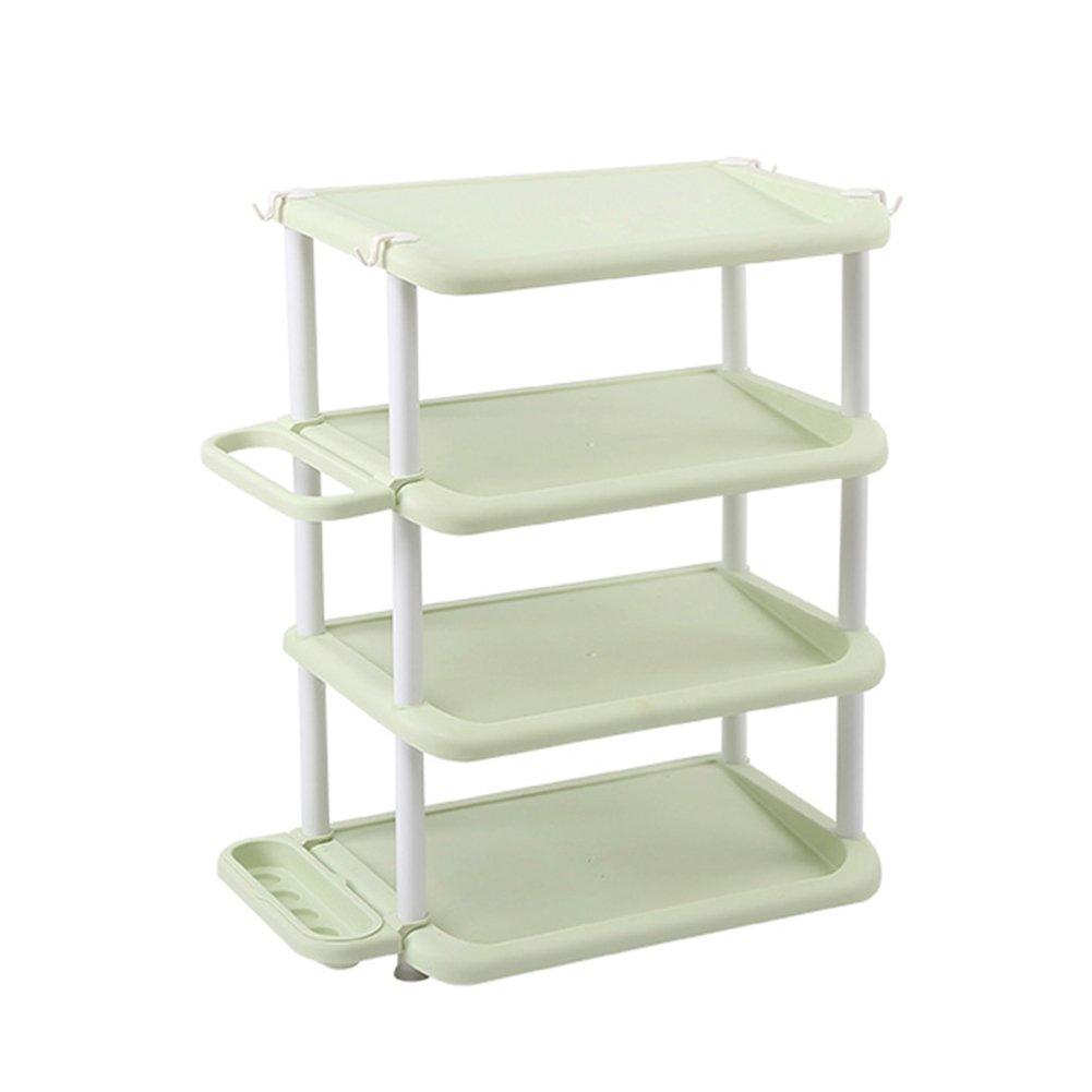 Shoes rack 4 Layers Plastic Household Hotel Umbrella Storage Rack Simple Space Saving Small at The Door (Color : Green)