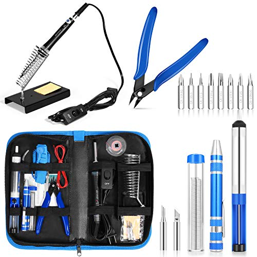Iron Electric Switch (SIKIWIND Soldering Iron Kit Adjustable Temperature Welding Tool with ON-OFF Switch, [Upgraded] 60W with Carry Bag,2pcs Soldering Iron Tips,8-in-1 Screwdrivers,Wire Cutter,Tweezers,Soldering Iron Stand)