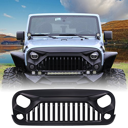 U-MAX Front Matte Black Gladiator Grid Grill for Jeep Wrangler Rubicon Sahara Sport JK 2007-2017 (Fury Monster)