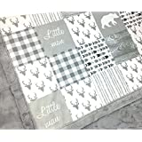 """Minky Baby Blanket Little Man in white and gray, 28"""" x 38"""""""