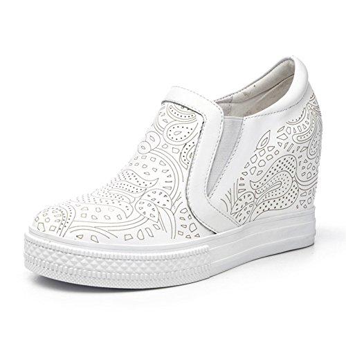 PUMPS Inner-Erhöhung Damenschuhe,LE Fu Schuhe Kleine Weiße Schuhe,Dicke Bottom Neigung und Leder Freizeit Schuhe-A Fußlänge=22.3CM(8.8Inch)